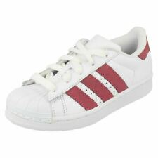 Girls White / Pink Lace Up Leather Otholite Adidas Trainers : Super Star C
