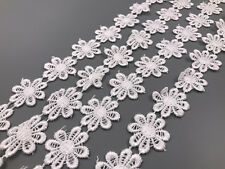 Hot 2 yards flower embroidery lace trim sewing headdress crafts accessories