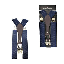 35mm Navy con Bianco Pois da Uomo Pantaloni Bretelle Y Forma Metallo Clip