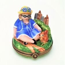 Lady in Blue in Central Park Feeding Squirrel Limoges Box by Chanille w/box
