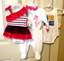 Lot of 3 Little Girl Outfits 1 Footed Sleeper & 2 One Piece Jumpers (0-3) Months