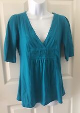 Croft & Barrow Tunic Top Teal Green Medium Shirt  Blouse Womens 3/4 sleeves