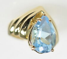 Ladies 14k Yellow Gold Large 9 Ct Pear Cut Topaz Solitaire Cocktail Ring
