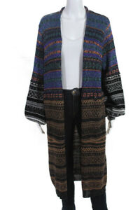 Nude Womens Button Down Long Cardigan Sweater Multi Colored Wool Size 10