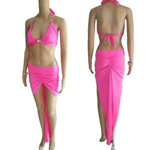 SALE! Exotic Dancer Sexy Stripper 3pc Hot Pink Long Skirt Set - SMALL