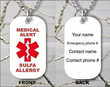 SULFA ALLERGY MEDICAL ALERT PERSONALIZED DOG TAG PENDANT NECKLACE -drt5Z