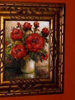 SUPERB Red Roses Green Leaves Vase Still Life Original Handmade Oil Painting Vtg