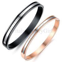 """""""Forever In Love"""" Engraved Men Women Stainless Steel Love Bangle Bracelet Gift"""