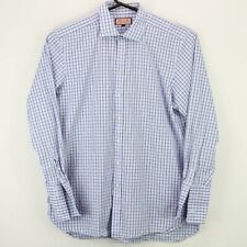 Thomas Pink Mens Button Up LS Shirt Size 18 37 Multicolor Check French Cuffs euc