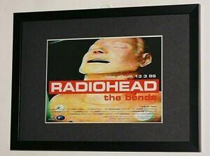 RADIOHEAD Framed A4 1995 `the bends` ALBUM original band promo ART poster
