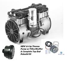 New 3/4Hp Lake Fish Pond Aerator Pump Aeration Compressor Motor-w/Rebuild Kit+!