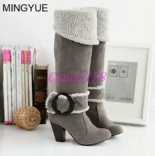 Womens Retro Winter Buckle Faux Suede High Heel Over Knee High Boots Shoes Size