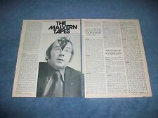 """1975 Bill """"Grumpy"""" Jenkins Vintage Interview Article """"The Malvern Tapes"""""""