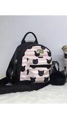 Betsey Johnson Kitty Cat Purse Backpack White Pink Striped Mini Cat Puff Nwt