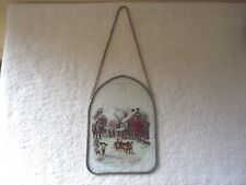 """Vintage Hanging Glass Winter Themed Picture """" BEAUTIFUL COLLECTIBLE ITEM """""""