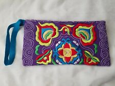 Embroidered Floral Swirl Purple Green Yellow Turquoise Red Wristlet Blue Strap