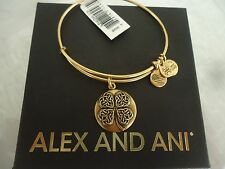Alex and Ani FOUR LEAF CLOVER III Russian Gold Bangle New W /Tag Card & Box