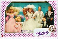 WEDDING PARTY MIDGE GIFT SET 1990 BARBIE KELLY MIDGE ALAN TODD KEN 6 DOLLS NRFB