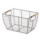 Mainstays Brown Chicken Wire Basket with Wood Handles