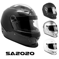 SNELL SA2020 Helmet Adult Full Face Matte Black Silver White Carbon Fiber