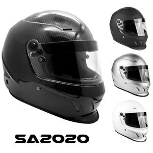 SNELL SA2020 Helmet Adult Full Face Matte Black Silver White Carbon Fiber