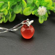 Fashion Womens 925 Silver Apple Pendant Necklace Choker Chain Jewelry Gift Hot