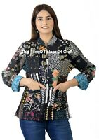 Indian Handmade Cotton Jacket Black Patchwork Women Clothing Coat Button Closer
