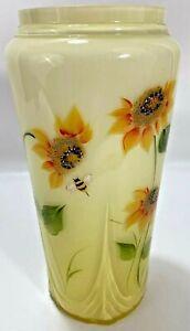 Fenton Sunflower Vase Hand Painted Yellow Decorative Signed NWOB