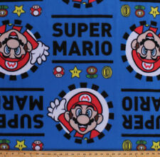 Super Mario Character Nintendo Video Games Kids Blue Fleece Fabric Print A335.18