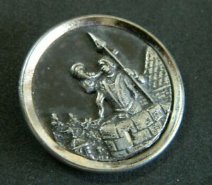 Antique Lg PICTURE Button TRUMPERTER White Metal Pewter