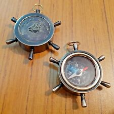Antique Brass Pocket Wheel Compass Mini Nautical Marine