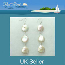 White Coin Freshwater Pearl Earrings with 3 pearls 13-14mm by Pearl Island