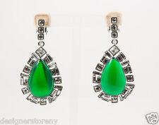 Kenneth Jay Lane Emerald Crystal Clip Earrings