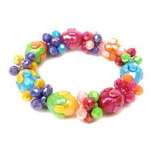 BRACELET enfant fillette perles sur élastique Multicolore poignet 12,5 à13,5 cm