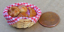 1:12 Scale Four Different Bakery Items In A Basket Dolls House Bread Accessory