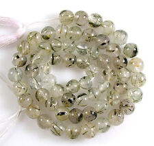 "NATURAL GEMSTONE BLACK RUTILATED QUARTZ  SMOOTH ROUND BEADS 13"" 3.5-4 mm   T11"