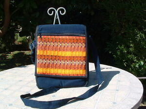 Guatemala  huipil IPAD or kindle cross body bag blue and multicolor  handloom