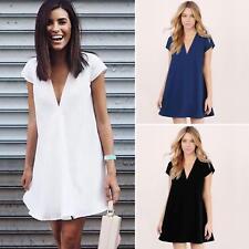 Plus Size Womens Cotton Mini Dress Plunge V Neck Loose Long Tops Beach Sundress