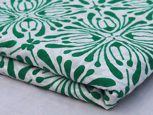 Indian Hand Block Printed Fabric 2.5 Yard Floral 100% Cotton Voile Floral Fabric