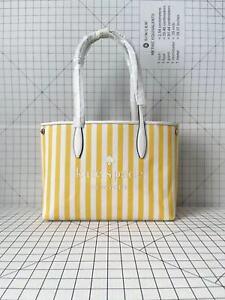 Kate Spade Street Tote Fabric/Leather Shoulder Bag Stripe Print WKR00487