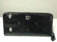 Coach Peyton Link C Embossed Patent Leather Accordion Zip Around Wallet F52079