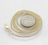 1.30mm Round Box Chain Necklace with Lobster Claw Clasp Real 14K Yellow Gold