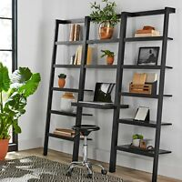 Modern Large Bookcase Desk Computer Wood Bookshelf Display Shelving Office Room