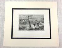 1843 Antico Cavallo Stampa Fox Caccia The Perseguimento Cascata E Incisione