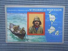 Chromo carte publicitaire Lion Noir Colonies Françaises St Pierre et Miquelon