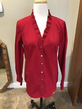 Talbots Button front Shirt Box Pleat details Red size 6