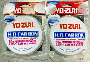 Yo-Zuri HD Disappearing Pink 30 Yards Fluorocarbon Leader - 50lbs * 2 Packs Lot