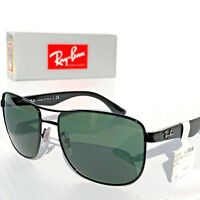 NEW* Ray Ban AVIATOR Squared Black POLARIZED Green Grey Sunglass RB 3533 002/9a