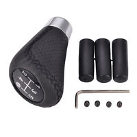 Leather Black 5 Speed Stitche Universal Manual Car Gear Stick Shift Knob Shifter