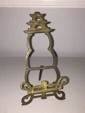 Vintage Brass Metal Asian Pagoda Building Display Easel Art Plate Stand Decor